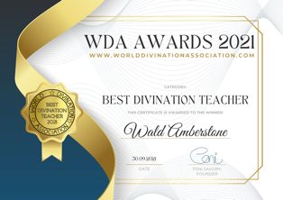 Wald has won the World Divination Association's Divination Teacher of the Year award!